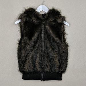 BB Dakota faux fur hooded zip up jacket vest